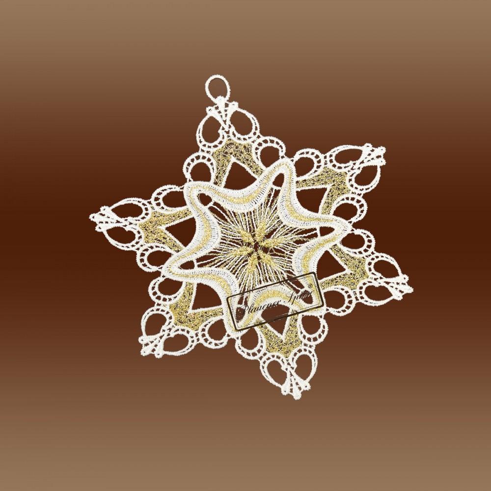 Weihnachtsdeckchen lilly plauener spitze in wei gold for Weihnachts scheibengardinen