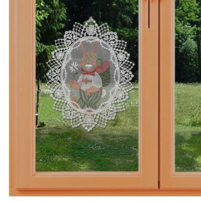 Fensterbild Osterhase aus Plauener Spitze