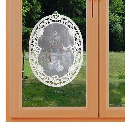 Fensterbild Ostergarten aus Plauener Spitze am Fenster