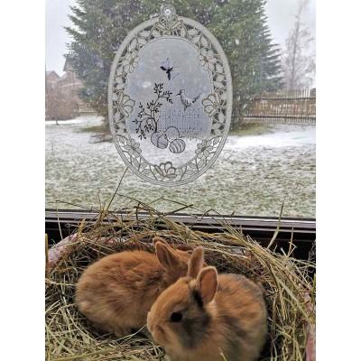 Fensterbild Ostergarten aus Plauener Spitze Dekobeispiel