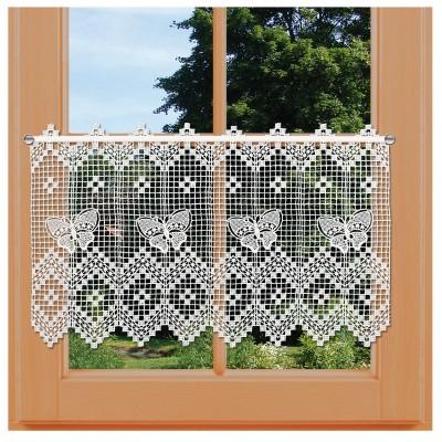 Landhaus-Spitzengardine Butterfly in natur Plauener Spitze am Fenster
