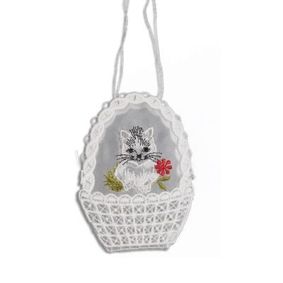 Gestickte Geschenke-Tasche Katze Spitzen-Täschchen mit Stickerei-Organza
