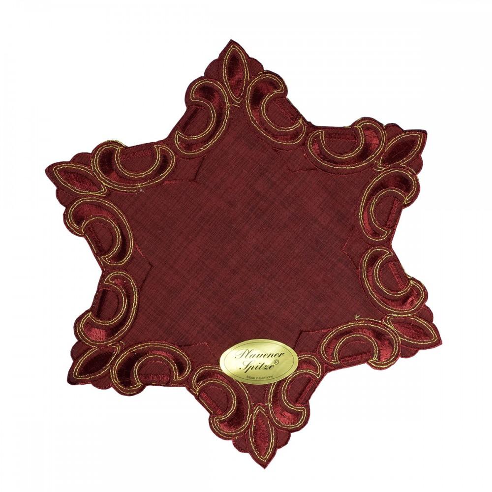 Deckchen Weihnachtsstern mit Gold-Lurexstickerei bordeaux