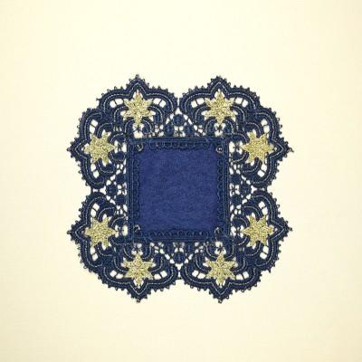 Deckchen Verena blau-gold Sterne