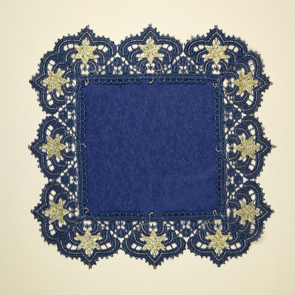 Deckchen Verena blau-gold Sterne groß