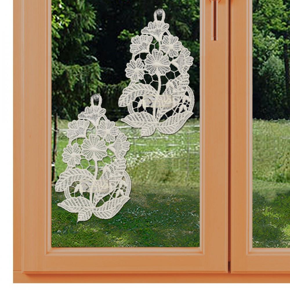2er-Set Klassische Fensterbilder  mit Primeln am Fenster