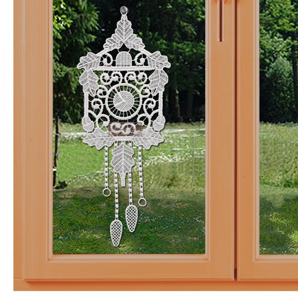 Uhr mit Pendel Klassisches Fensterbild aus Echter Plauener Spitze weiß