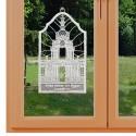 Klassisches Fensterbild Dresdner Zwinger Kronentor aus Echter Plauener Spitze weiß