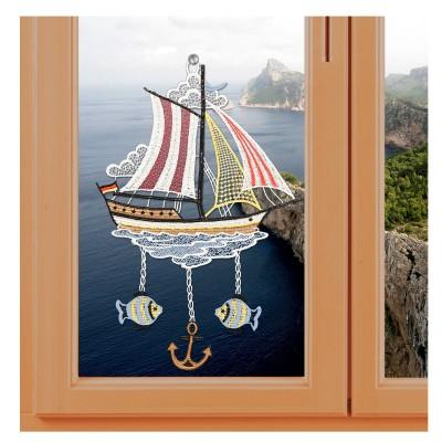 Fensterbild Segelboot Plauener Spitze inkl. Saughaken am Fenster mit Meereshintergrund