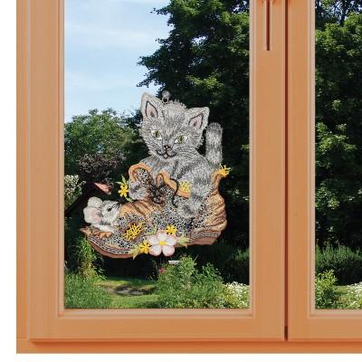 Fensterbild Katz und Maus im Schuh am Fenster