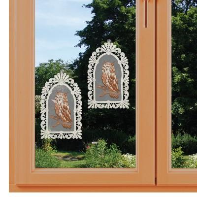 2er Set Fensterbilder Eulen auf Organza am Fenster