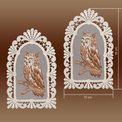 2er Set Fensterbilder Eulen auf Organza Musterbild