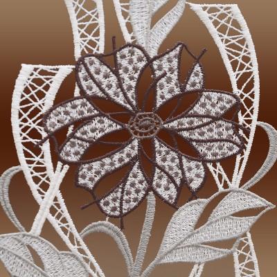 Modernes Spitzenbild Blüte in grau Detailbild