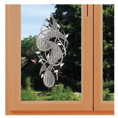 Modernes Fensterbild Ornament in grau am Fenster