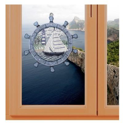 Fensterbild Steuerrad mit Boot Plauener Spitze inkl. Saughaken