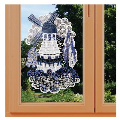 Fensterbild Holländermühle in blau Plauener Spitze