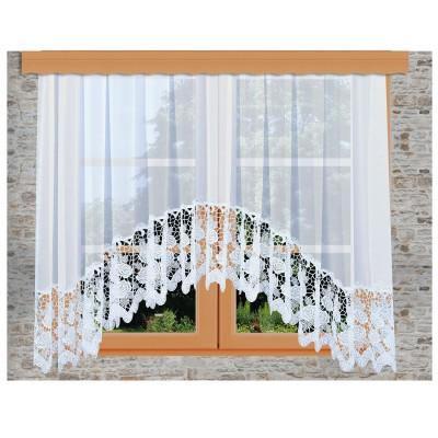 Hübscher Blumenfenster-Store Rosa weiß mit 30 cm breiter Spitze aus Echter Plauener Spitze