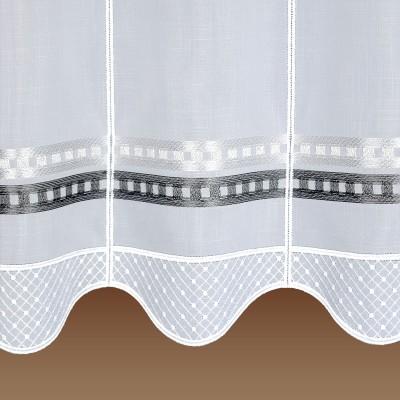 scheibengardine melinda modern bestickt mit steifen grau. Black Bedroom Furniture Sets. Home Design Ideas