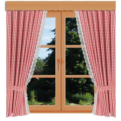 Dekoschal-Set Hannah rot-weiß kariert mit Plauener Spitze am Fenster