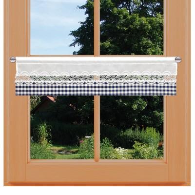 Feenhaus-Spitzengardine Hannah blau-weiß kariert mit Spitzeneinsatz am Fenster