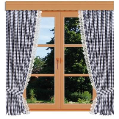Dekoschal-Set Hannah blau-weiß kariert mit Plauener Spitze am Fenster