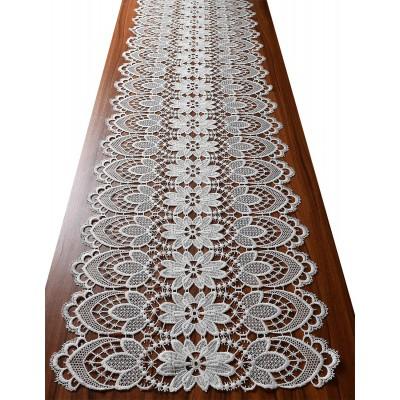 Luftspitzen-Tischläufer Frida Plauener Spitze natur auf Tisch