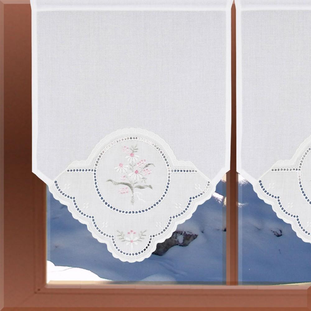 landhausgardine scheibenh nger pastellstrau zarte lochstickerei bestickt. Black Bedroom Furniture Sets. Home Design Ideas