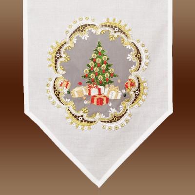 Weihnachts-Scheibenhänger Bescherung am Fenster Detail Organza-Stickerei
