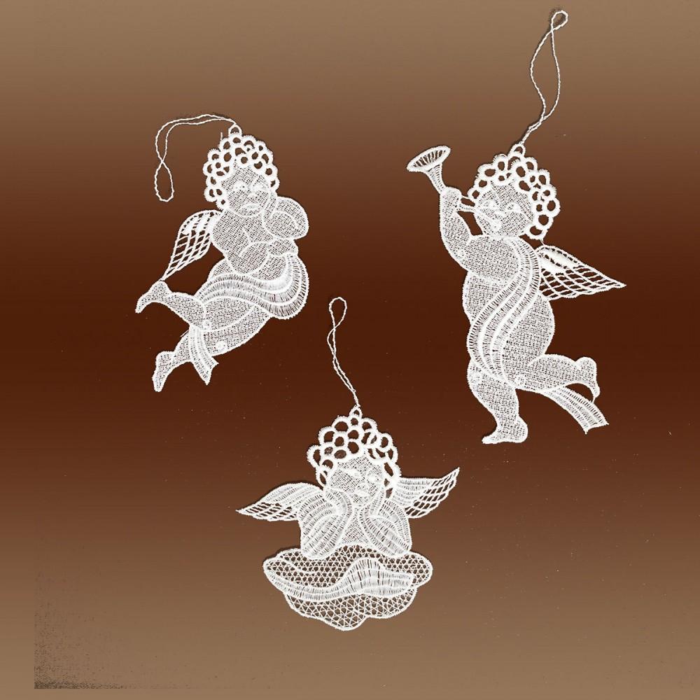 3 Stück Spitzenanhänger Raffaeloengel naturweiß Plauener Spitze