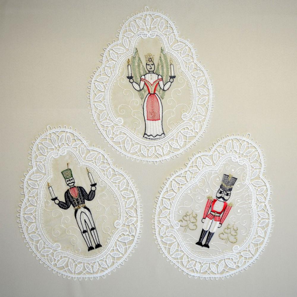 3 st ck fensterbilder erzgebirgsfiguren plauener spitze for Weihnachts scheibengardinen