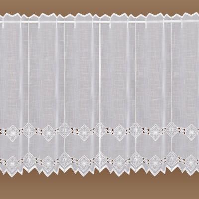 Feenhaus-Spitzen-Gardine Elly weiße Plauener Stickerei 55 cm hoch