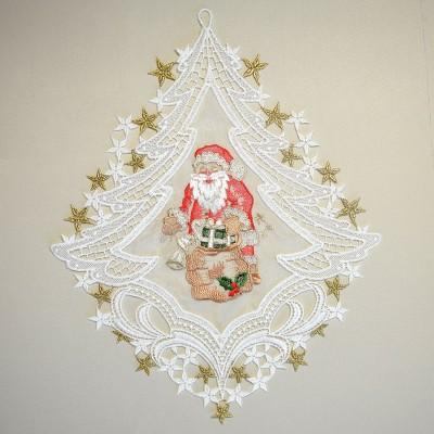 weihnachts fensterbild weihnachtsmann plauener spitze inkl. Black Bedroom Furniture Sets. Home Design Ideas