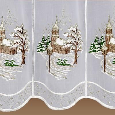 Winter-Scheibengardine Winterkirche zauberhafte Weihnachtsgardine