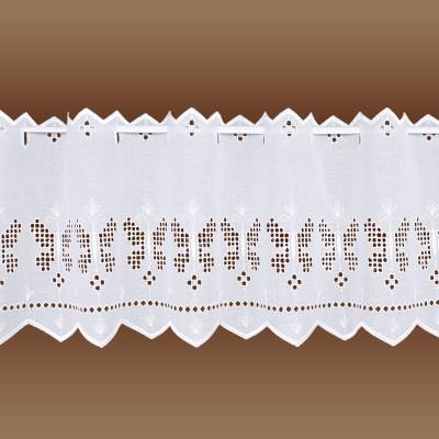 Landhausgardine Antonett mit weißer Schmetterlings-Stickerei kurze Variante