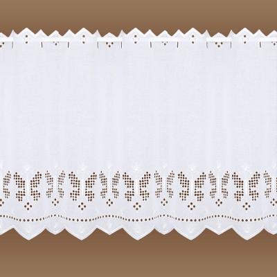 Landhausgardine Antonett mit weißer Schmetterlings-Stickerei 45 cm vor Hintergrund