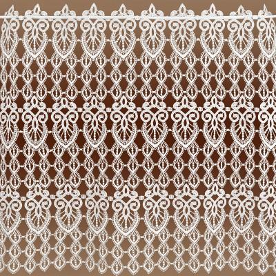 Spitzengardine Olivia Echte Plauener Spitze Scheibenhänger rohweiß 72 cm - lange Variante