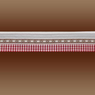 Feenhausgardine Helena rot-weiß kurzer Scheibenhänger Plauener Spitze 18 cm