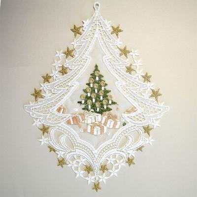 Weihnachts fensterbild bescherung als baum plauener spitze for Weihnachts scheibengardinen