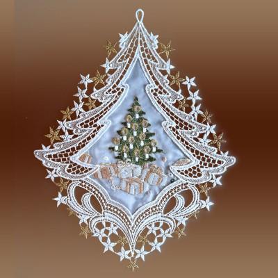 Weihnachts-Fensterbild Bescherung Plauener Spitze