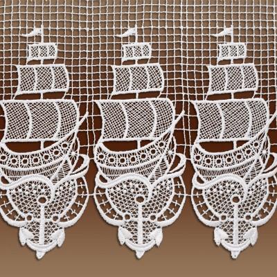 Landhaus-Spitzengardine Segelboot Maritimes Motiv Detailansicht