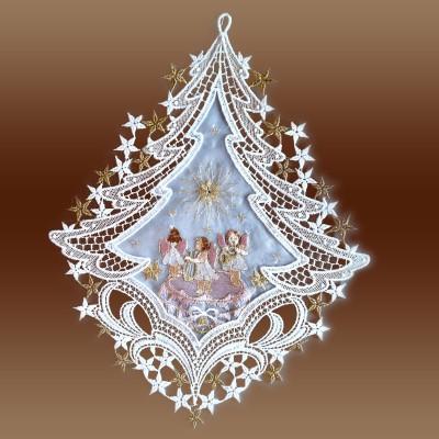Fensterbild Spieldose rosa Advent Weihnacht Plauener Spitze