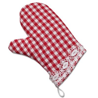 Topfhandschuh rot-weiß-kariert Serie Helena mit Spitze Ofenhandschuh