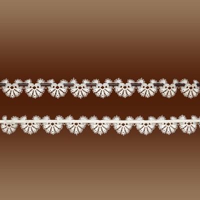 Kleine Feenhaus-Spitzenkante Loni 6,5 cm Blumenspitze natur auf Hintergrund