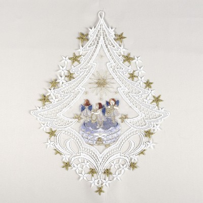 Fensterbild SpieldoseAdvent Weihnacht Echte Plauener Spitze blau
