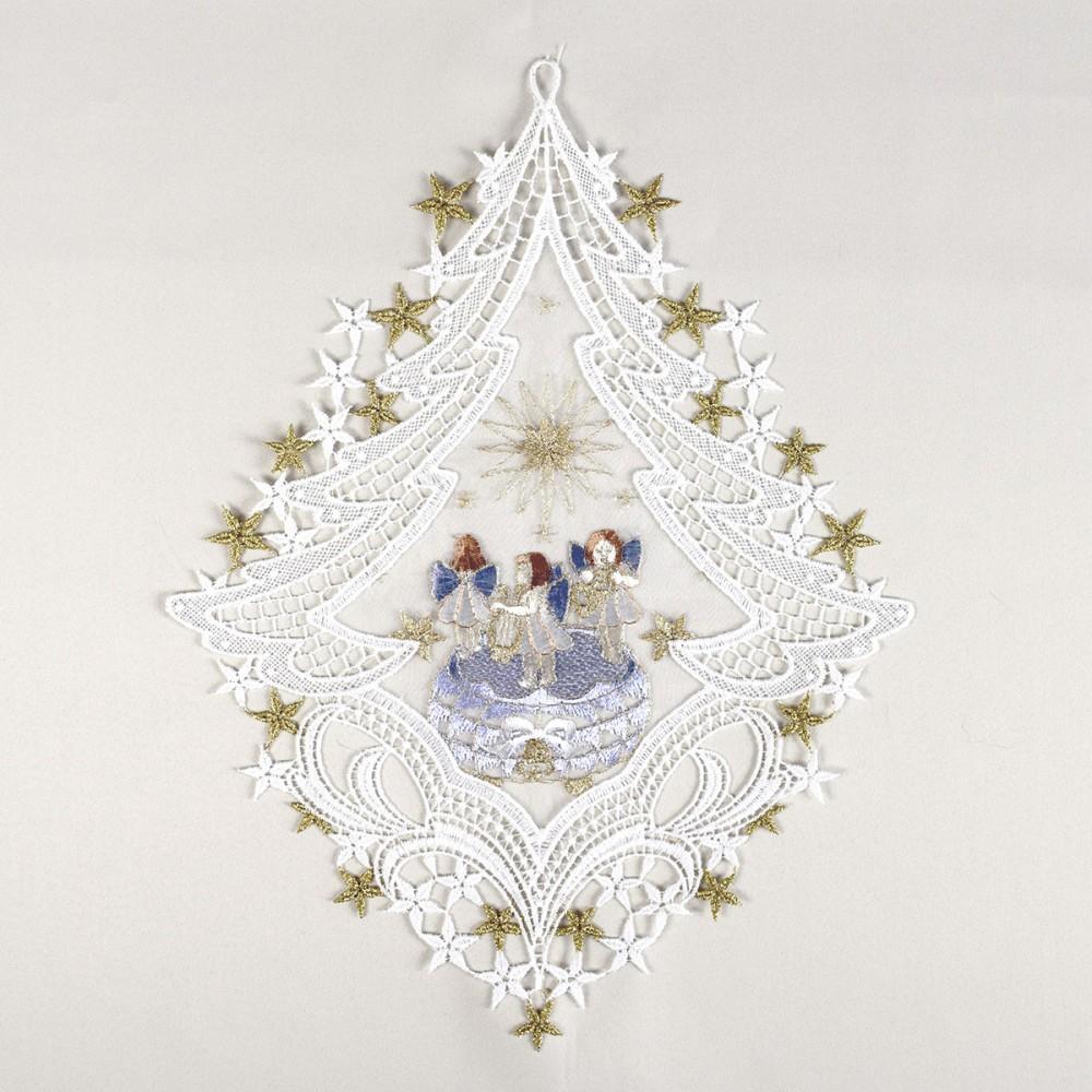 Fensterbild spieldoseblau advent weihnacht echte plauener spitze inkl saughaken - Plauener spitze fensterbild ...